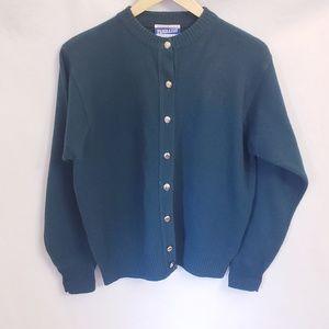 Vintage 90s Hunter Green Pendleton Cardigan, Sz M